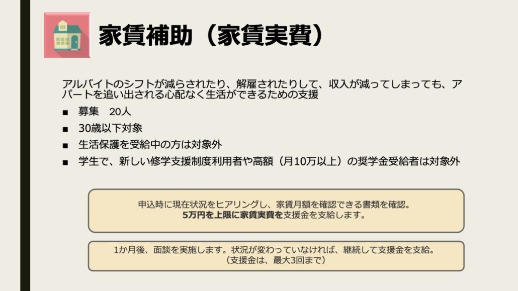 画像【新型コロナ緊急支援第2弾】家賃補助(家賃実費)