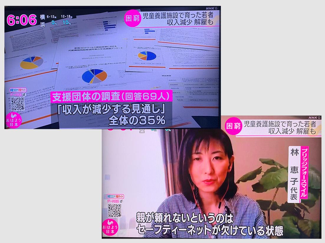 NHK:緊急事態宣言を受けてブリッジフォースマイルが実施したアンケート調査が紹介され、代表の林恵子がインタビューに答えました。