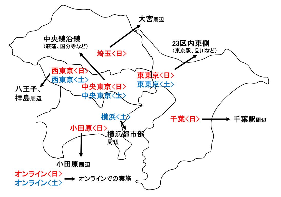 【地図】2021巣立ちプロジェクト開催会場